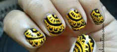 Black and Gold Henna nail art design step by step