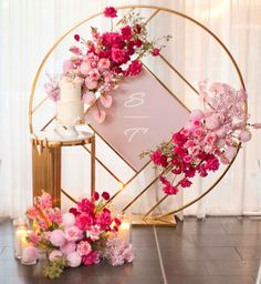 Pretty In Pink Stunning florals and set up featuring our Gloss Gold Geo Round Screen Dior Table Stylist eventsbykahlia Prop Wedding Backdrop Design, Wedding Stage Decorations, Backdrop Decorations, Wedding Themes, Flower Decorations, Wedding Designs, Party Backdrops, Wall Backdrops, Ceremony Backdrop
