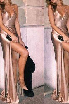 V Neck Champagne Prom Dress, Sexy Backless Dress, Halter Long Evening Dress 0057 Grad Dresses, Satin Dresses, Ball Dresses, Sexy Dresses, Evening Dresses, Formal Dresses, Ball Gowns, Satin Formal Dress, Reception Dresses