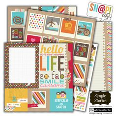 SN@P! Life by Simple Stories. Your LIFE in a snap! SN@P! Life offers a playful, yet completely functional, approach to your everyday memory keeping! With a snappy name, happy colours and oh-so-fun products such as paper pads, stickers, 12 x12 double sided papers, journaling cards, titles and more...