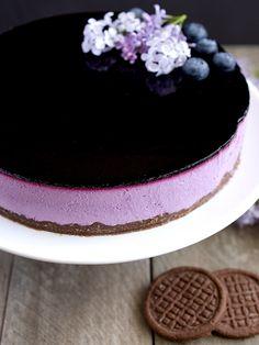 Pradobroty: Borůvkové zrcadlo - nepečený tvarohový dort Panna Cotta, Cheesecake, Deserts, Food And Drink, Sweets, Baking, Ethnic Recipes, Blog, Cakes