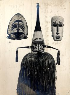 Photograph (black and white), from an album; three masks from Papua New Guinea (l-r); a barkcloth mask; a headdress, made up of a barkcloth mask, with vegetable fibre fringing; and a wooden mask representing a human face. Gelatin silver print © The Trustees of the British Museum