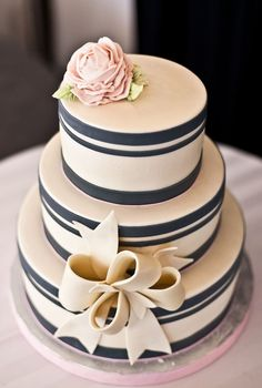 navy and ivory cake