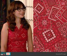 Jess's red bandana print dress on New Girl.  Outfit Details: http://wornontv.net/41363/ #NewGirl