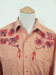 Vintage Floral Western Cowboy Champion Pop Snaps Shirt XL Tall