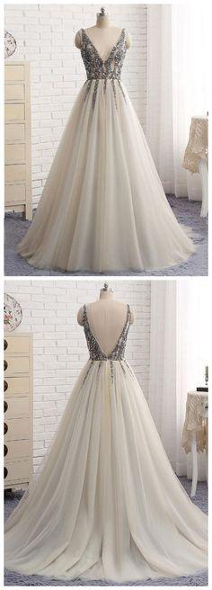 2017 A-line Princess V Neck Sleeveless Shiny Prom Dresses, Sexy Backless Sweep Train Dresses ASD26797 #deepv #shiny #tulleskirt #love #rhinestone #dresses #Dress #backless #sleeveless #fashion #fashionblogger #girl
