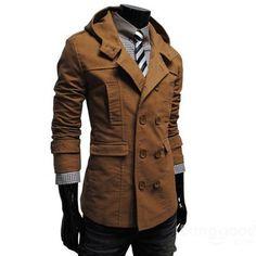 EU Direct | Men Double-Breasted Coat Hoodie Jacket Casual Windbreaker