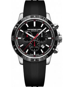 RAYMOND WEIL Genève > Tango 8560-SR1-20001 Mens Watches - Quartz chronograph tango 300, steel on rubber strap | RAYMOND WEIL Genève Luxury Watches > Swiss Luxury Watches