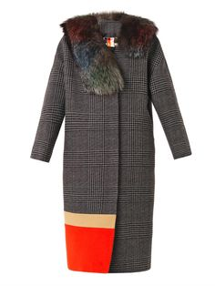 MSGM Fur trimmed Prince Of Wales-check coat