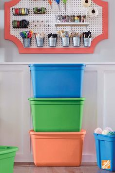 These multicolored storage bins are a great way to brighten and declutter any room. You can stack them, mix and match them, and store them anywhere. For even greater organization, categorize each bin according to color and never search for anything again! See the HDX 20-gallon tote here!
