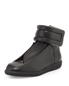 Future Leather High-Top Sneaker, Black  by Maison Margiela at Neiman Marcus.