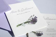 Provence - Faire Part de Mariage - Faire part fleur couleur mauve, bleu, vert  avec image et motif lavande, fleur, tournesol, olive pour theme amour, bucolique, romantique, nature