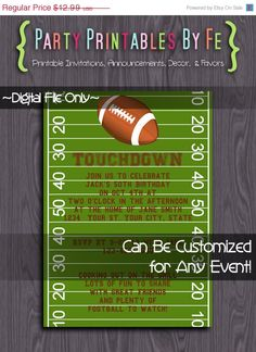 ON SALE Printable Football Party Invitation ~ Football Field ~ I58