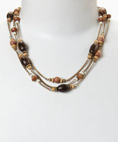 Loving this Gold & Brown Glamour Multi-Strand Necklace on #zulily! #zulilyfinds