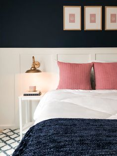 Gorgeous navy blue and white master bedroom with pink accents. Navy White Bedrooms, Blue And Pink Bedroom, Pink Master Bedroom, Pink Bedroom For Girls, Blue Bedroom Decor, Pink Bedrooms, Master Bedroom Makeover, Room Ideas Bedroom, Bedroom Colors