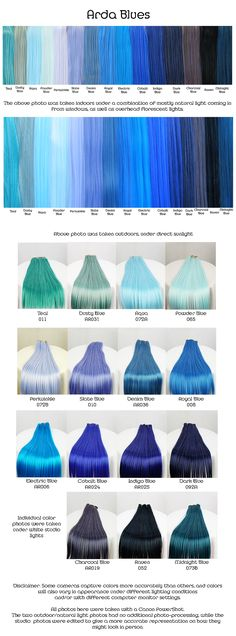 Arda blues, wig fiber color pallette.