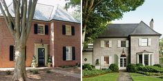Secrets of Segreto -This house was featured in Southern Living, before & after, love the lime wash and the new entry, so beautiful, I love painted or washed brick!!