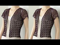 Crochet o Ganchillo - YouTube Crochet Shirt, Crochet Jacket, Crochet Cardigan, Easy Crochet, Crochet Top, Crochet Hats, Crochet Bolero Pattern, Sombrero A Crochet, Crochet Videos