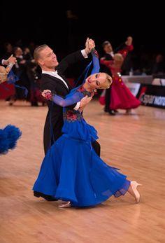 Deep blue color and simple but impressive dress design looks amazing on Ekaterina Prozorova #ballroom #ballroomdress #wdsf #ballroomdress #dlkuniteddesign