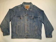 Levi Denim Jacket, Blue Jean Jacket, Denim Jeans Men, Blue Denim, Blue Jeans, Hipster Stuff, Mens Xl, Work Wear, Men's Coats