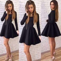 Long Sleeves Zipper High Waist Pleated Little Black Dress - O Yours Fashion - 1
