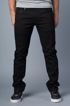 Vantage Point} Disbelief Slim-Straight Jeans in Black Out