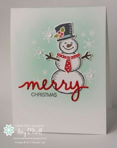 Merry Snowman - Stampin' Up Snow Place card by Amy O'Neill