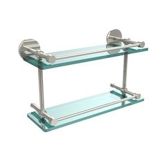 16 Inch Tempered Double Glass Shelf with Gallery Rail, Polished Nickel - (In No Image Available)