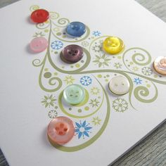 Fun button cards. It would make a cute scrapbook page. Include some 'favorite things' from the event. Use a flourish to create the tree.