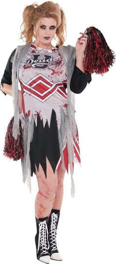 Adult Zombie Cheerleader Costume Plus Size - Party City