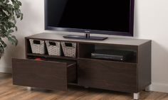 This sleek and contemporary stand holds your TV and also has plenty of storage space for electronic accessories, DVDs, and more