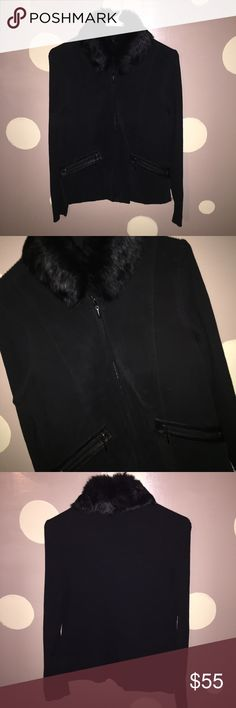 suede and rabbit fur jacket Absolutely stunning jacket/sweater coat. Suede front sweater style back with a detachable rabbit fur collar. Escapades Jackets & Coats