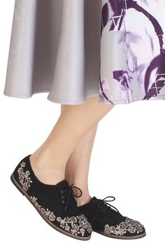 81619d80a54701 Black and silver floral embroidered lace up shoes available only at  Pernia s Pop Up Shop.