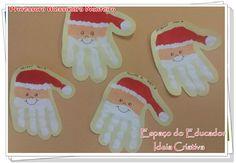 Papai Noel de Carimbo de Mãos  Atividade Sensorial Natalina Espaço do Educador