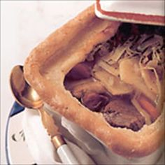 """Baeckeoffe (""""baker's oven"""" in the Alsatian dialect) is a rustic one-dish meal made with root vegetables such as potatoes, onions, and carrots along with lamb, pork and/or beef. A rope of dough goes around the dish to form a better seal with the lid, keeping moisture in while it cooks."""