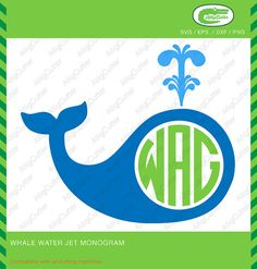 Whale Water Jet Monogram Frame SVG DXF PNG eps by Alligcutter