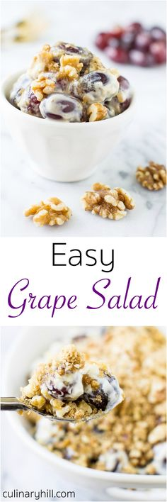 Impress your friends and family at your next party with Easy Grape Salad, so sweet and creamy you'll never believe how simple it is to make! A make-ahead wonder with just 5 minutes prep time.
