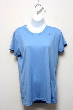 NIKE Dri Fit Short Sleeve V-Neck Blue Exercise Running Shirt L #Nike #ShirtsTops