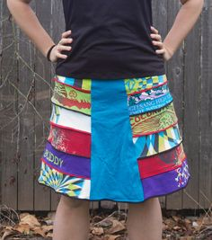 Colorful Fun Upcycled Tshirt Skirt by kendragrace on Etsy, $65.00