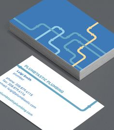 Let's Get Piping: everyone needs great Business Cards to look professional – especially Plumbers. Line up these cards to show your new clients you know how to take control of a leaky situation and keep their water flowing! #moocards #luxebymoo #businesscard