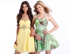 Short Formal Dress 1306 in yellow or green print chiffon