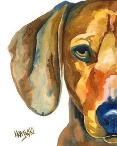 Dachshund Dog Art Print of Original Watercolor by dogartstudio. Looks like Generalisimo Francisco Franko.