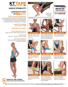 Learn the proper way to use KT Tape to help with ankle stability at TheraTape. Our step by step guide demonstrates taping technique to improve muscle pain! Kt Tape Ankle Sprain, Kt Tape Knee, Knee Taping, Knee Meniscus, Ankle Arthritis, K Tape, Ankle Pain, Kinesiology Taping, Sprained Ankle