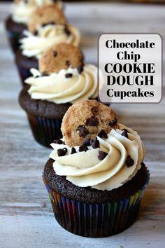 Chocolate Chip Cookie Dough Cupcakes recipe from RecipeGirl.com #chocolate #chip #chocolatechip #cookie #dough #cookiedough #cupcakes #recipe #RecipeGirl Cookie Dough Cupcakes, Cookie Dough Frosting, Chocolate Chip Cookie Dough, Yummy Cupcakes, Chocolate Chip Cupcakes, Filled Cupcakes, Chocolate Cupcakes Decoration, 12 Cupcakes, Birthday Cupcakes