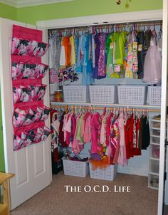 Organizer on the back of closet door for too much stuff! - From Overwhelmed to Organized: 31 Days of Organizing Tips: Day 21 (Kids' Bedrooms) Toddler Closet Organization, Girls Room Organization, Clutter Organization, Organizing Tips, Wardrobe Organisation, Organization Ideas, Storage Ideas, Kid Closet, Closet Bedroom