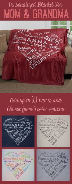 LOVE this personalized heart blanket! It's the perfect Mother's Day Gift idea for Mom or Grandma! You can personalize it with up to 21 names and you can pick from 5 colors . The Best Holiday Pins 2019 Diy Christmas Gifts, Christmas Time, Holiday Gifts, Christmas Present Ideas For Mom, Craft Gifts, Diy Gifts, Diy Cadeau Noel, Just In Case, Just For You