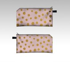 Golden Dots and Pink Cosmetics and Pencil Case // by NikaMartinez #etsy #nikamartinez #golden #gold #dots #pencil #cosmetics #case #pink #cute #fancy #romantic #girly #accesories