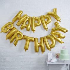 Gold Happy Birthday Balloon Bunting – Perfect Party...in a box