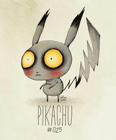 Pikachu Tim Burton style