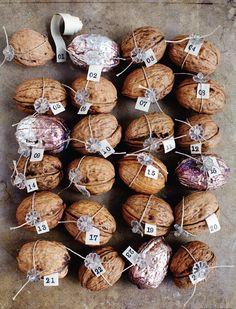 Small things, simple pleasures: walnut advent calendar from Sweet Paul Magazine